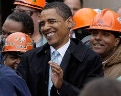 Barack Obama greets US Steel Corp. workers on 2008 campaign